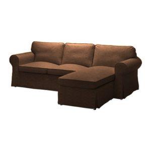 IKEA Ektorp 2er-Sofa mit Recamiere rechts Bezug aus Kunstleder