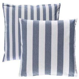 Kissenhuelle VANNES Farbe: Weiss-Delfterblau | Größe: 40×40