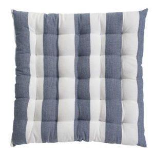 Stuhlkissen VANNES Farbe: Weiss-Delfterblau | Größe: 40×40