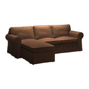 IKEA Ektorp 2er-Sofa mit Recamiere links Bezug aus Kunstleder